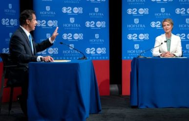 Andrew Cuomo and Cynthia Nixon at Gubernatorial debate on stage at Hofstra University on CBS
